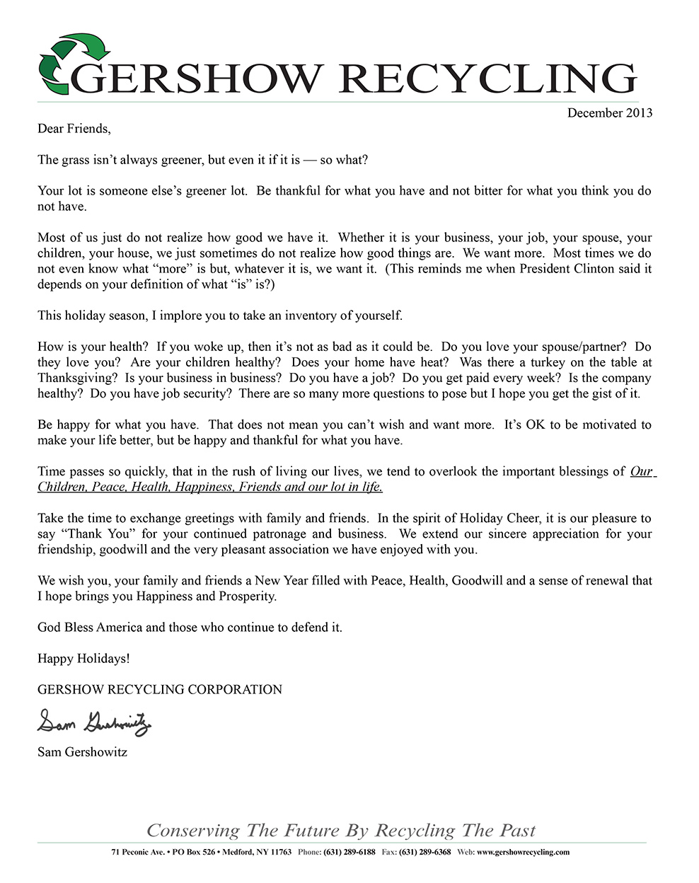 December 2013 Holiday Letter