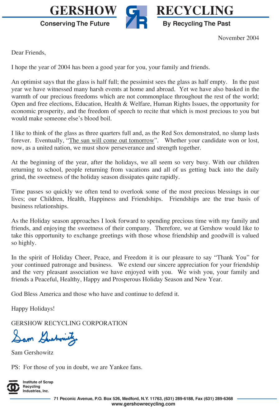December 2004 Holiday Letter