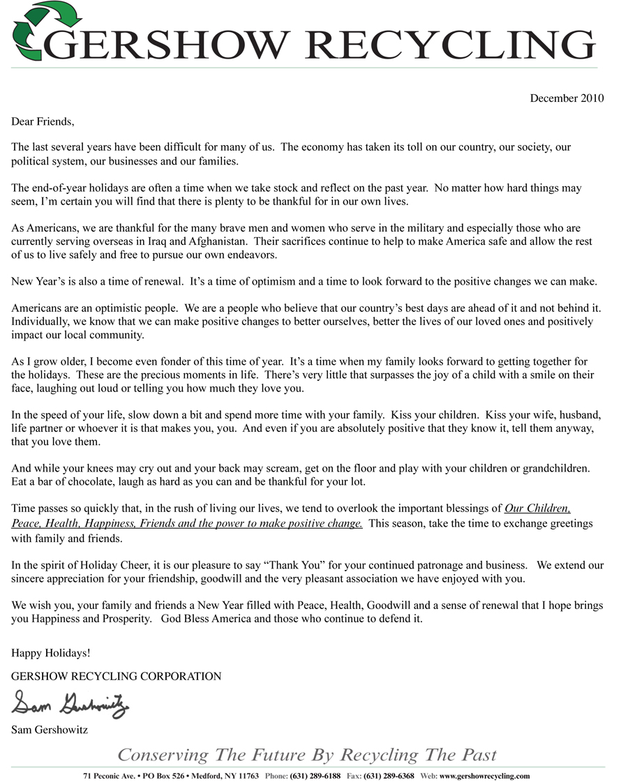 December 2010 Holiday Letter