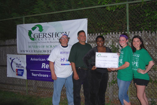 Gershow Recycling Donates $500 to American Cancer Society at Sayville Relay For Life