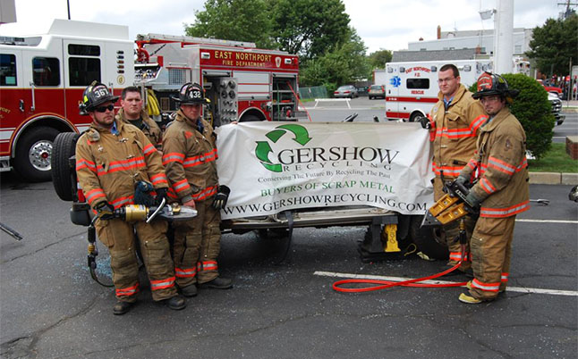 Gershow Recycling Donates Two Vehicles to East Northport Fire Department for Extrication Exercise