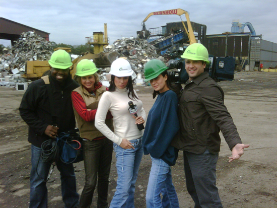 Crew From Fox News at Gershow Recycling