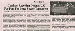 Gershow Donates $2,000 to Play for Peace Soccer Tournament