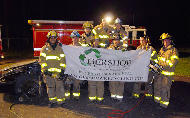 Gershow Recycling Donates Two Vehicles to Sayville Fire Department for Extrication Exercise