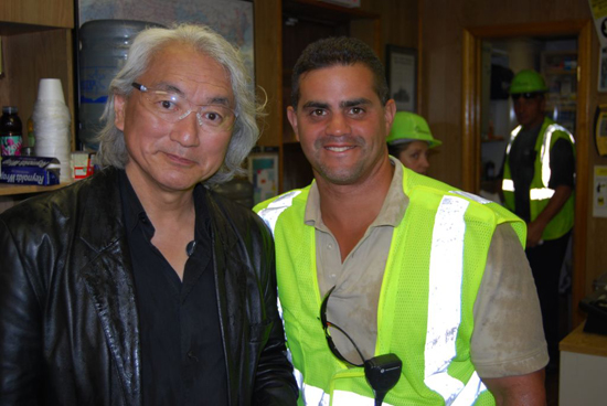 "Dr. Michio Kaku (left), host of Science Channel's ""Sci-Fi Science: Physics of the Impossible,"" and Ray Colon (right), Manager, Gershow Recycling"