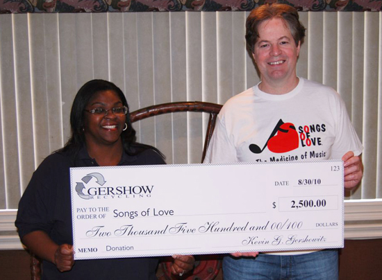 Gershow Recycling presented a check in the amount of $2,500 to Songs of Love Foundation