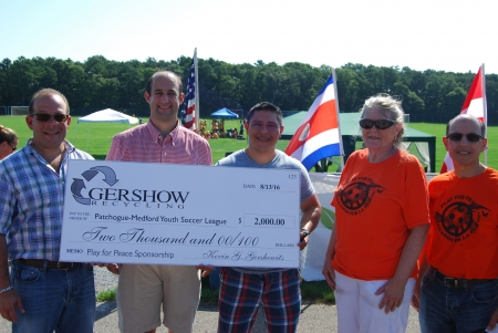 Gershow Recycling Donates $2,000 for 8th Annual Play for Peace Soccer Tournament