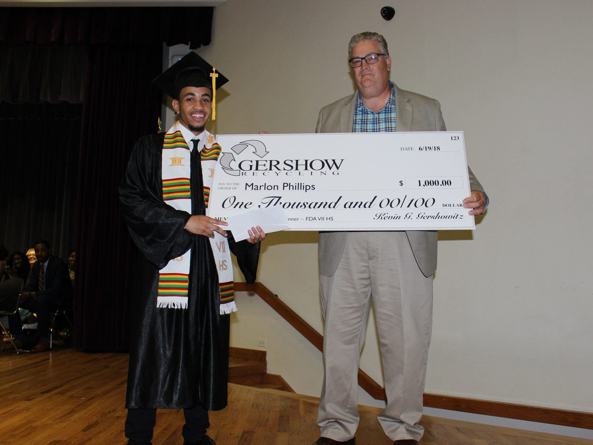 , Gershow Recycling Grants Environmental Conservation Scholarship to Frederick Douglass Academy VII High School Graduating Senior Marlon Phillips