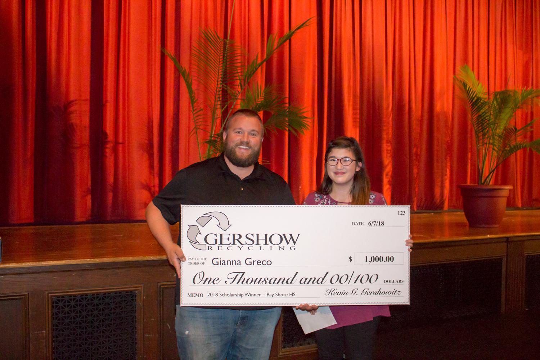 , Gershow Recycling Grants Environmental Conservation Scholarship to Bay Shore High School Graduating Senior Gianna Greco