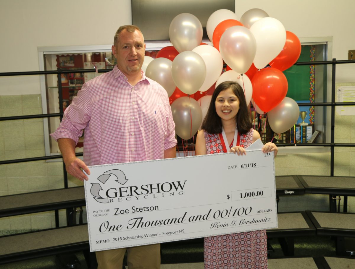 , Gershow Recycling Grants Environmental Conservation Scholarship to Freeport High School Graduating Senior Zoe Stetson