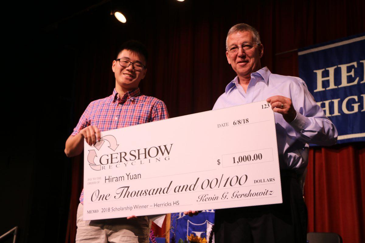 Gershow Recycling Grants Environmental Conservation Scholarship to Herricks High School Graduating Senior Hiram Yuan