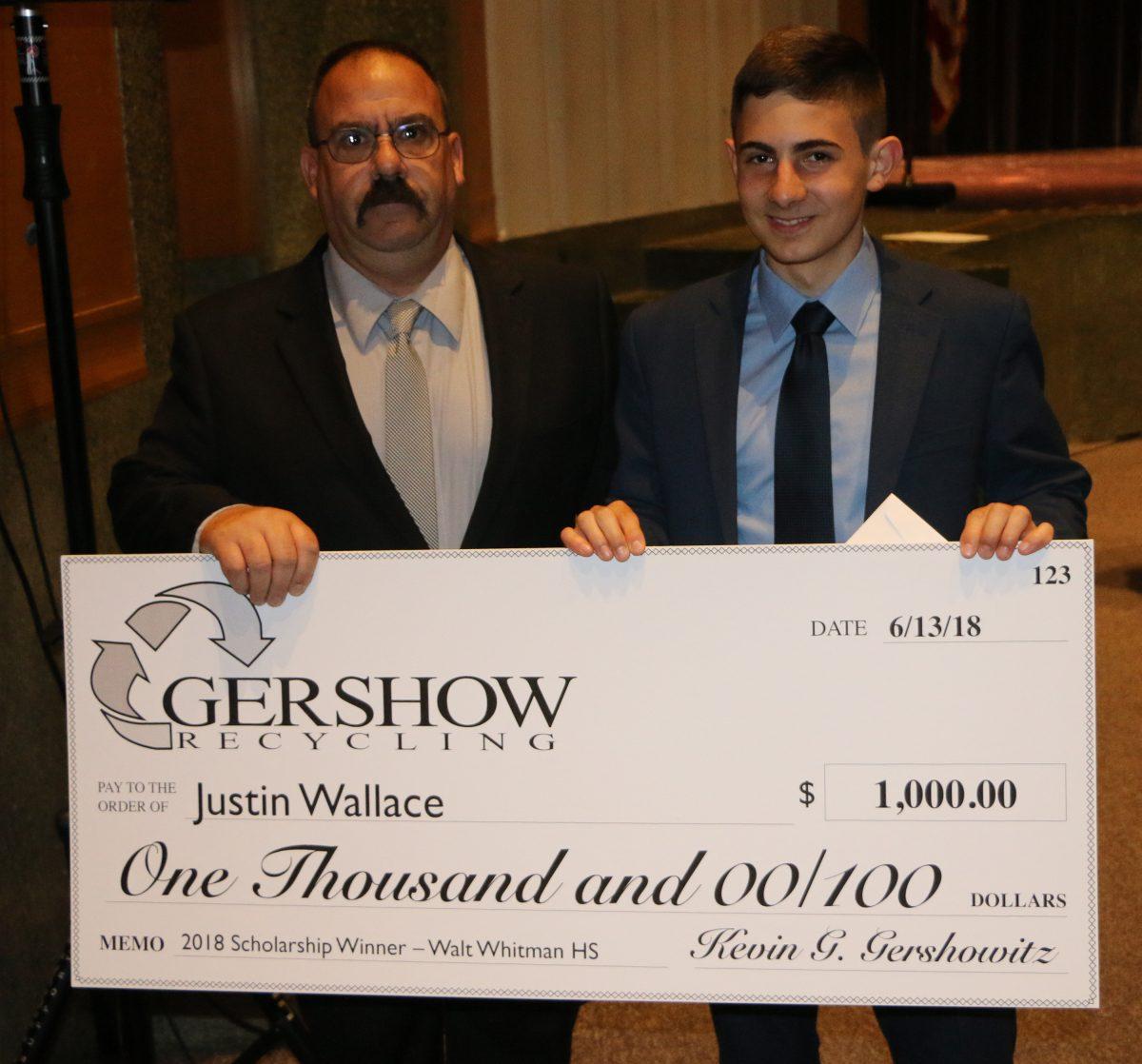 Gershow Recycling Grants Environmental Conservation Scholarship to Walt Whitman High School Graduating Senior Justin Wallace
