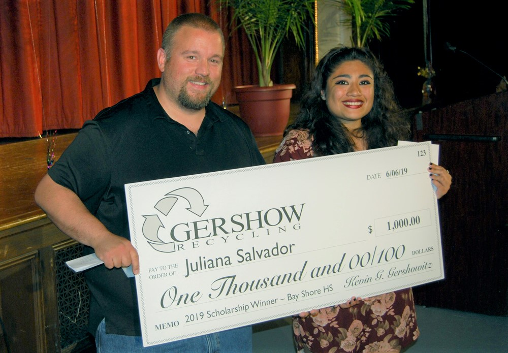 , Gershow Recycling Grants Environmental Conservation Scholarship to Bay Shore High School Graduating Senior Juliana Salvador