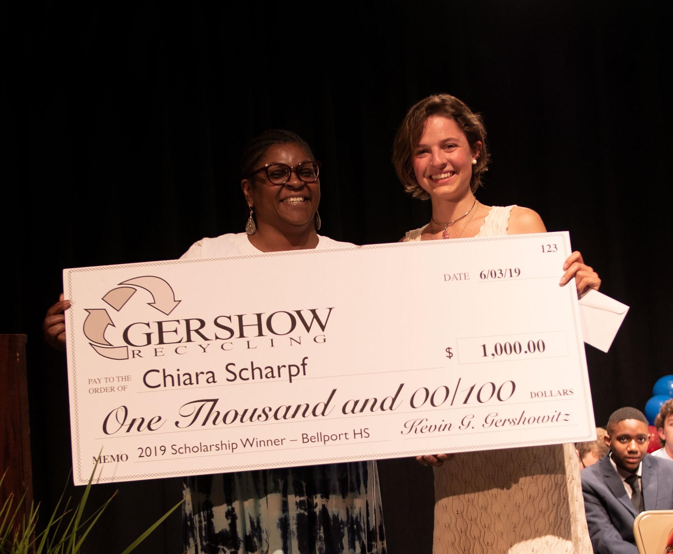 , Gershow Recycling Grants Environmental Conservation Scholarship to Bellport High School Graduating Senior Chiara Scharpf