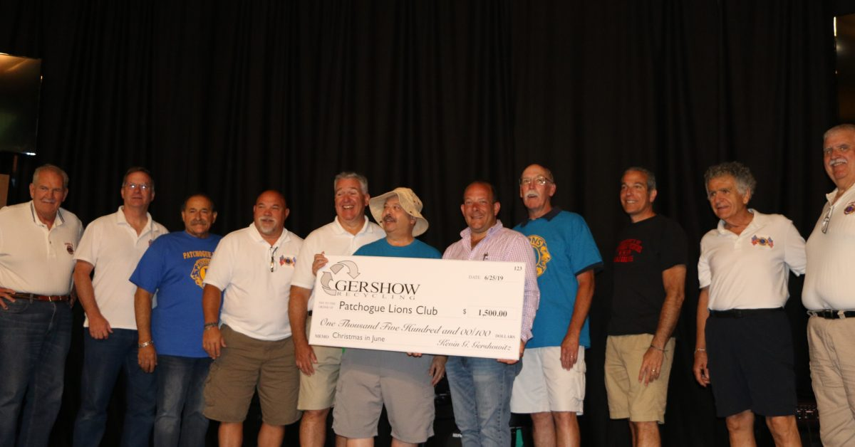 """Patchogue Lions Club Hosts """"Christmas in June"""" for Local School Children at Boomer's Family Fun Center"""