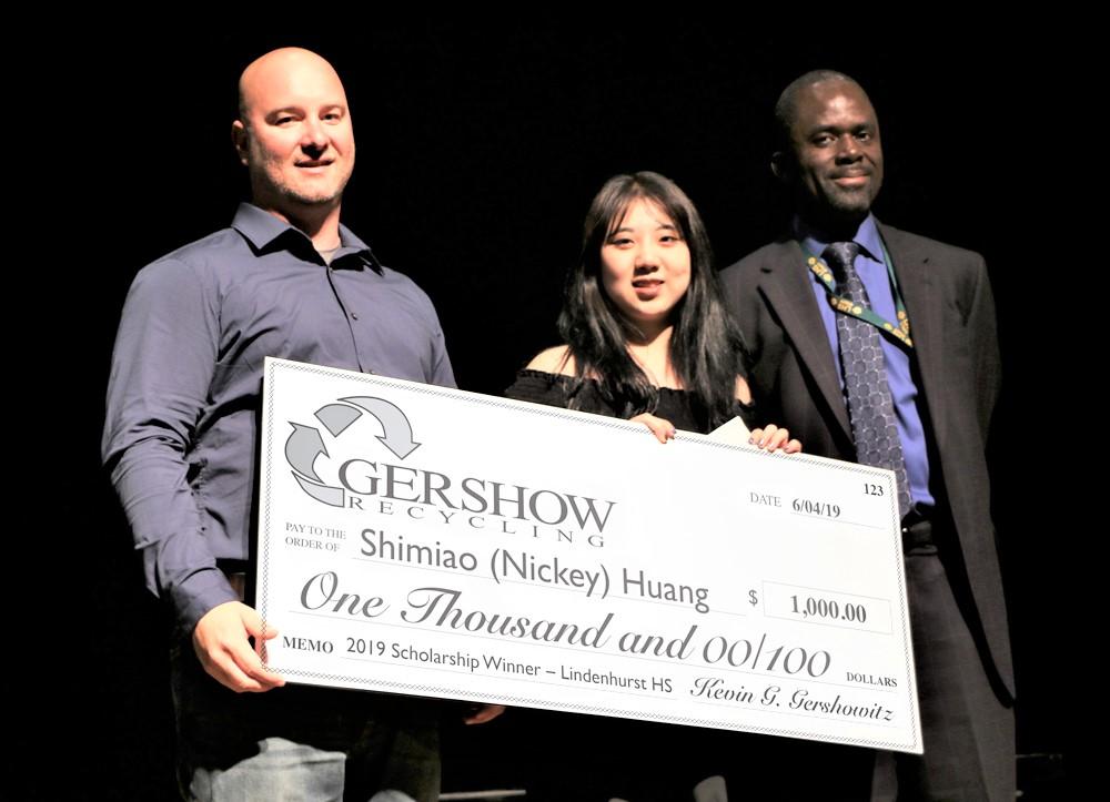 , Gershow Recycling Grants Environmental Conservation Scholarship to Lindenhurst High School Graduating Senior Shimiao Huang
