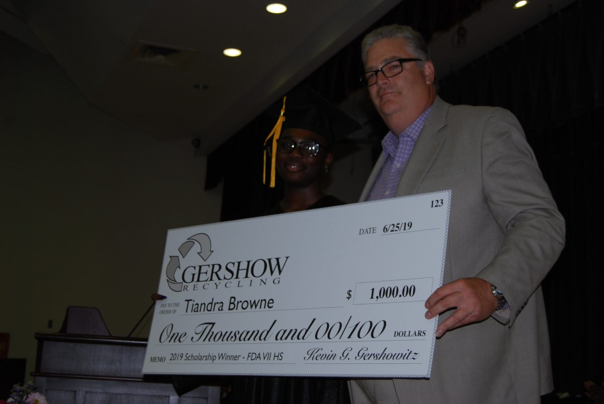 Gershow Recycling Grants Environmental Conservation Scholarship to Frederick Douglass Academy VII High School Graduating Senior Tiandra Browne
