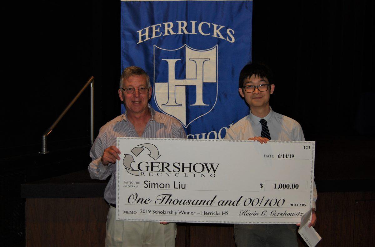 Gershow Recycling Grants Environmental Conservation Scholarship to Herricks High School Graduating Senior Simon Liu