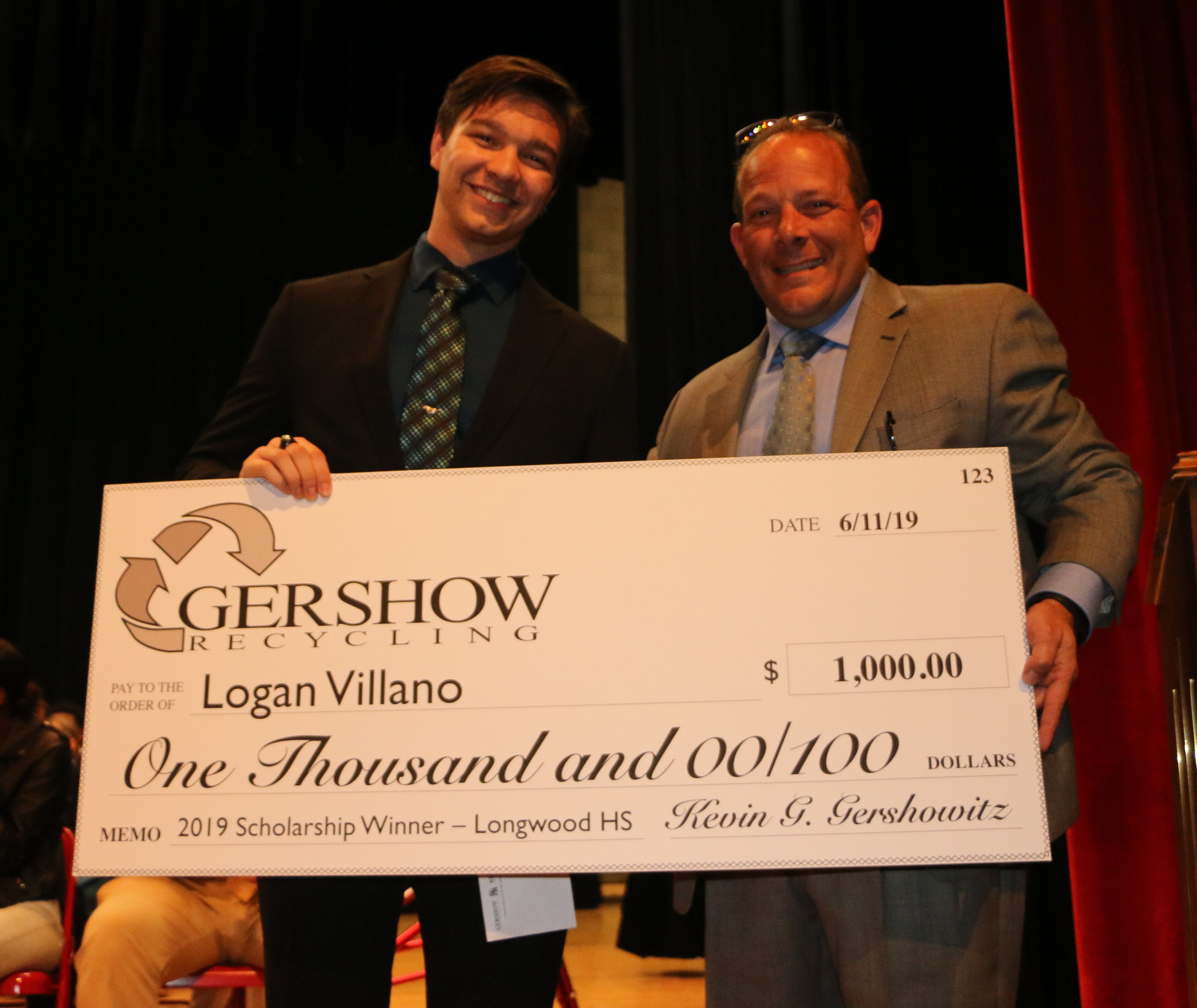 , Gershow Recycling Grants Environmental Conservation Scholarship to Longwood High School Graduating Senior Logan Villano