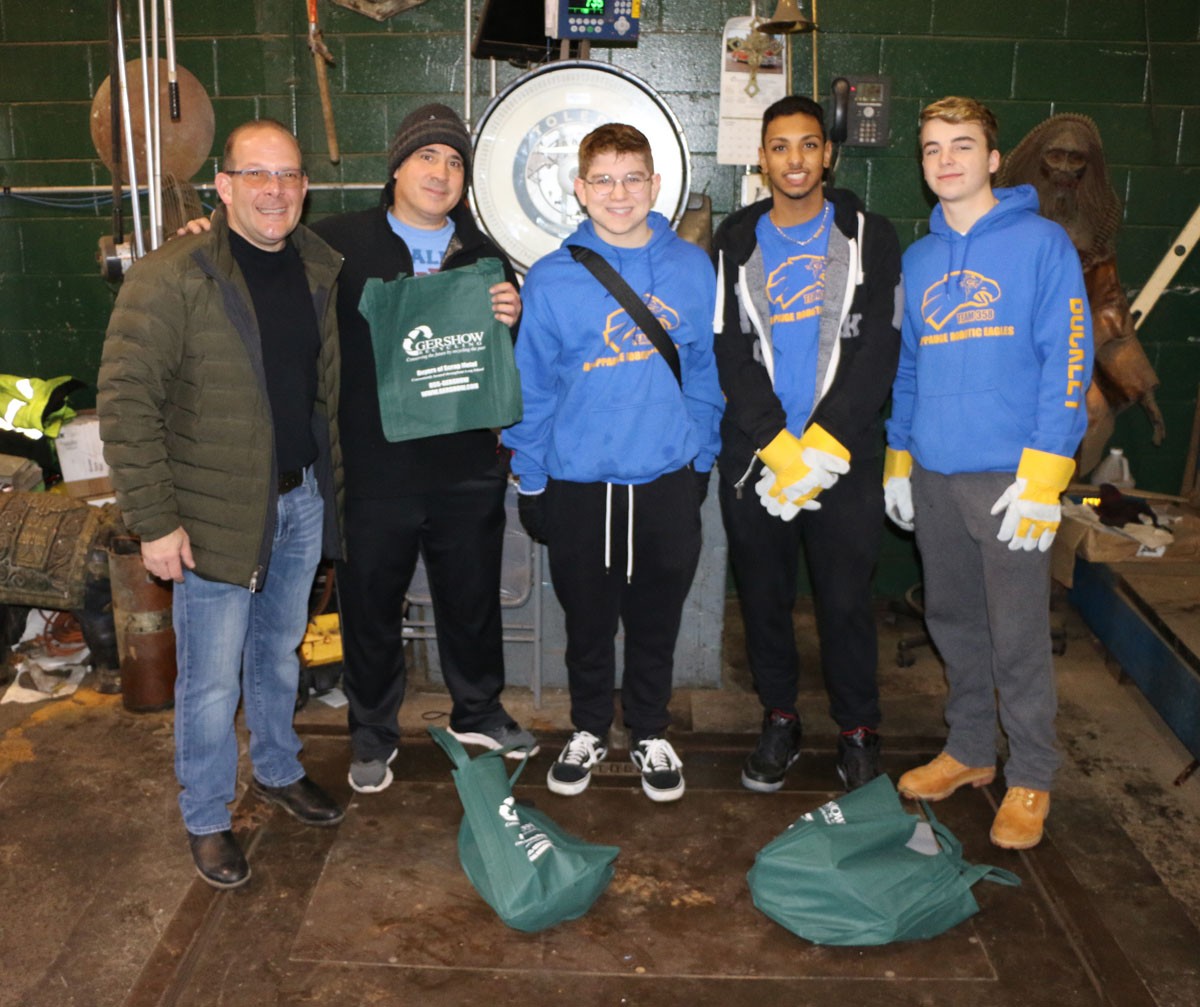 Pictured (left to right): Gershow Manager Jonathan Abrams, Hauppauge High School Robotics Team Advisor Anthony Gibson, Team Presidents Daniel Panaro and Kassiem Jennings and Team Vice President Seamus Buckley.