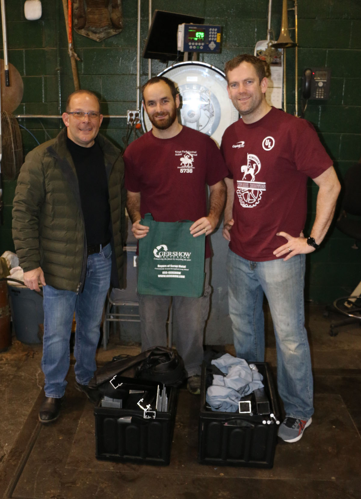 Pictured (left to right): Gershow Manager Jonathan Abrams, Kings Park High School Robotics Team Coach Kevin Hutchins and Assistant Coach Sam Kruse.