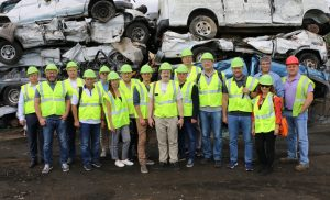 Kevin Gershowitz (back row, second from right), President, Gershow Recycling, is joined by Pete Vaillant (back row, right), Manager, Gershow Recycling, and members of Ruslom, an organization comprised of scrap metal company representatives from Russia, whom Gershow hosted at a tour of its Medford facility on September 13.