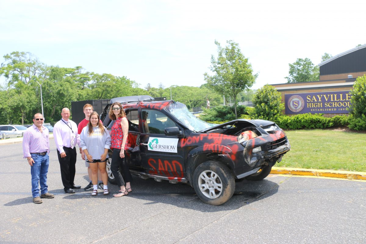 Gershow Recycling Donates Use of Junk Car to Sayville High School SADD Chapter